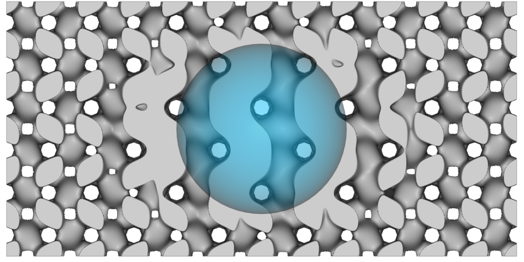 Final TPMS Mixed Lattice, with the location of a sphere controlling the gradual transition zone.