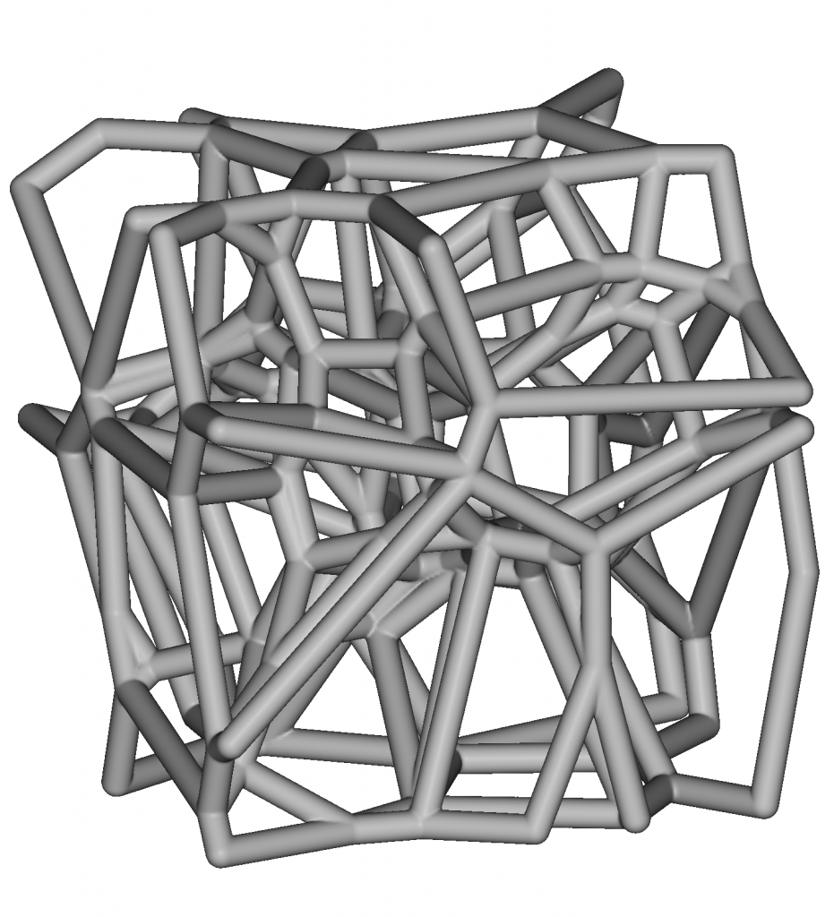 The second input is a stochastically generated Voronoi lattice at strut diameter 'D'