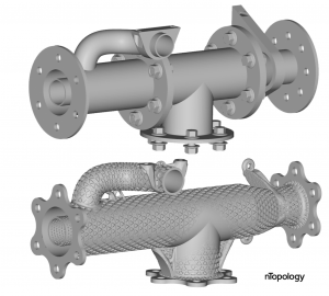 A pipe assembly lightweighted through part-consolidation and conformal ribbing.