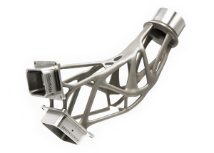 A titanium spacecraft bracket, lightweighted with topology optimization and built with electron beam melting (EBM).