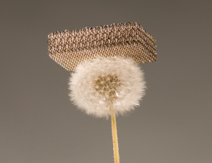 The most extreme example of lightweighting on this list: a nickel microlattice structure fabricated by HRL, with a density 100 times less than styrofoam. Each strut is a hollow nickel tube of approximately 100 nm wall thickness, manufactured through a combination of additive manufacturing and electroless plating.