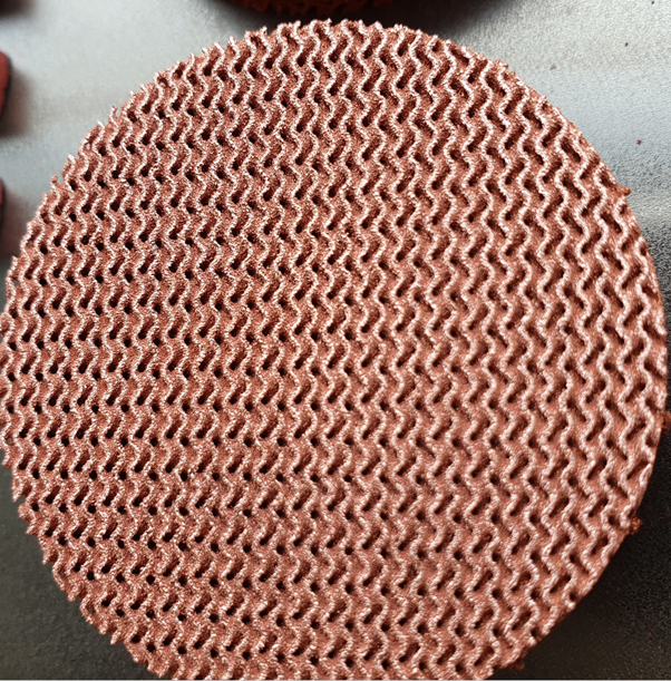 Copper lattice test sample with 2 mm cell size