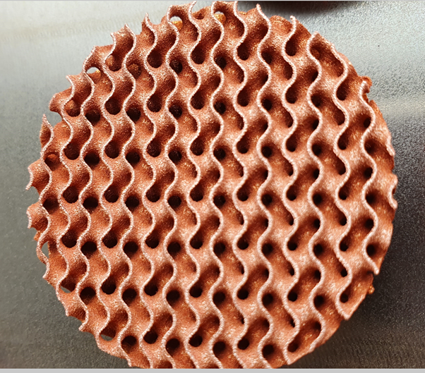 Copper lattice test sample with 5 mm cell size
